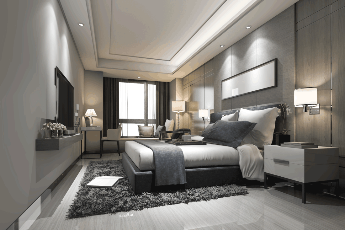 modern bedroom with Sleek Grey And White Design