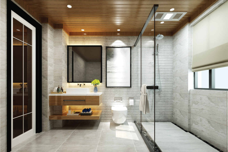 modern luxury bathroom with glass walled shower divider, vanity mirror, recessed lighting