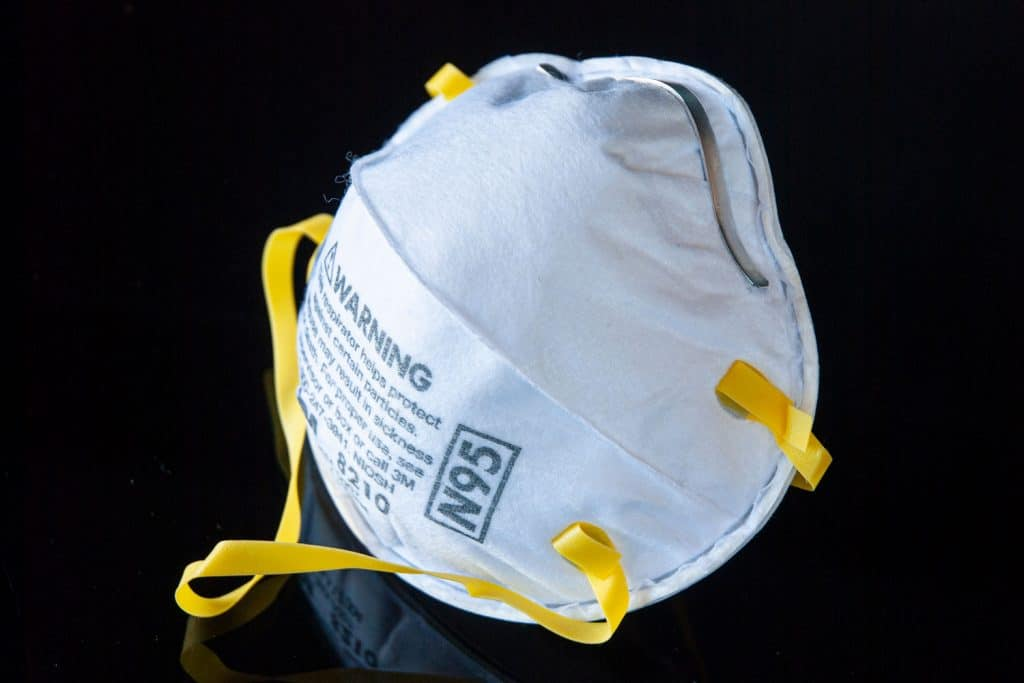 A heavy duty N95 mask isolated on a white background