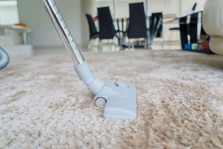 A man using a vacuum cleaner to clean the area rug, How To Vacuum Area Rugs With A Dyson