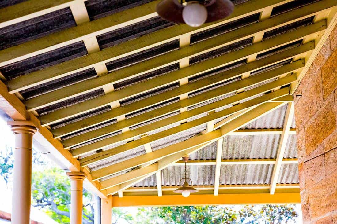 Close up of an old patio wooden ceiling