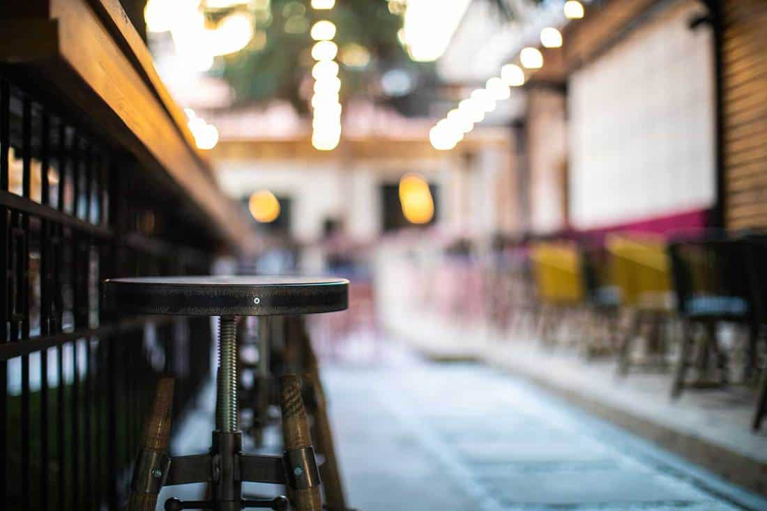 Close up of wooden bar stools in an outdoor cafe