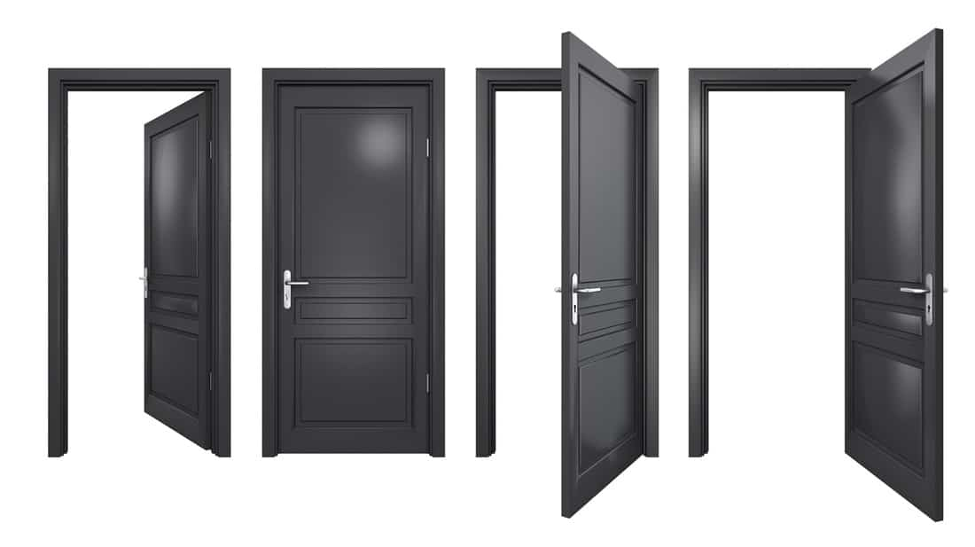 Collection of isolated black doors