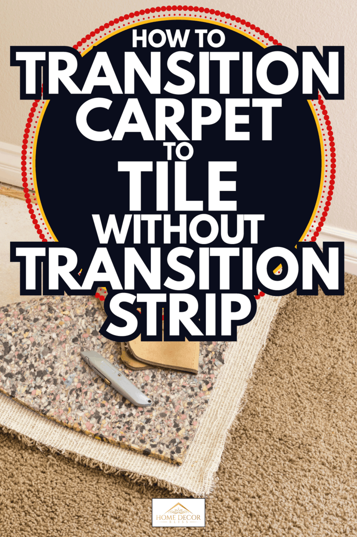 Construction Gloves and Utility Knife On Pulled Back Carpet and Pad In Room. How To Transition Carpet To Tile Without Transition Strip