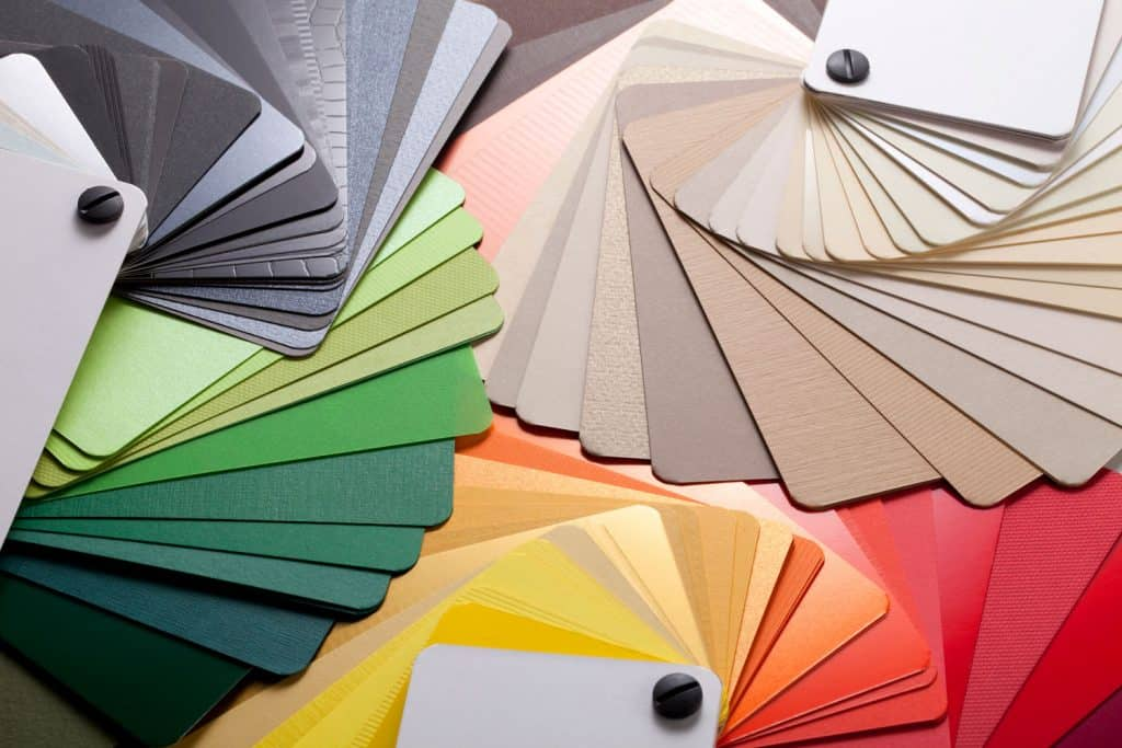Different colored palettes complementing the colors gray