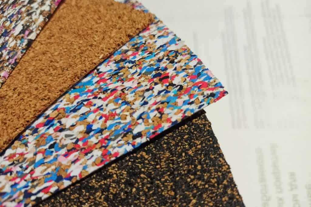 Different colors of cork underlayment collection at a shop