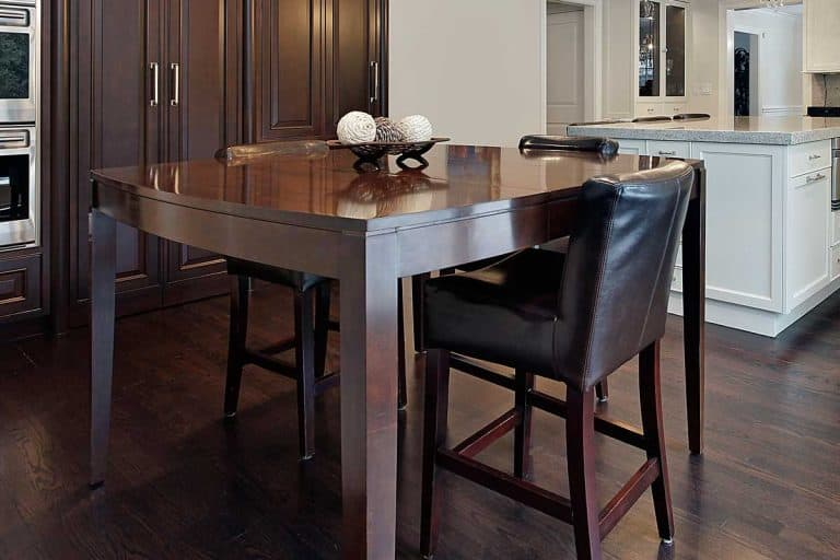 Dining table with leather seats and dark wood floor, What Color Dining Table For Dark Wood Floors?
