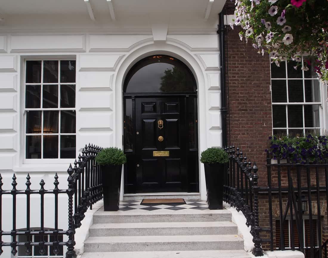 Elegant front door of townhouse in Manhattan
