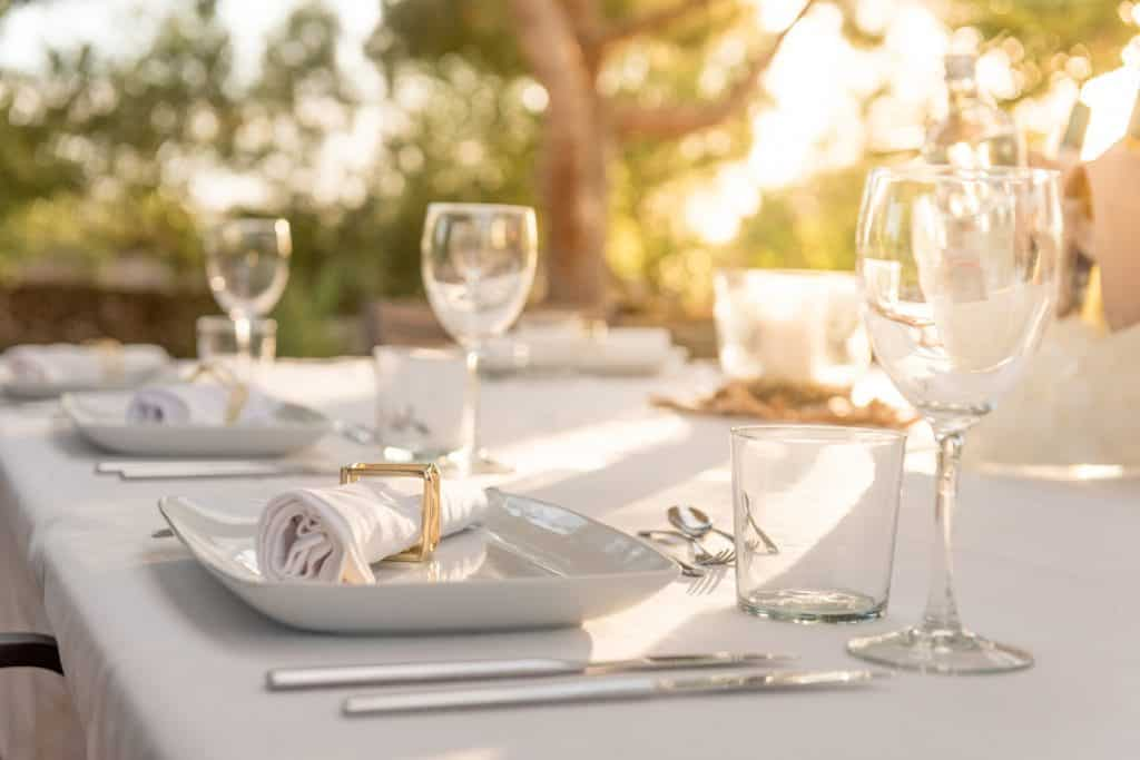 Elegant table for dinning at sunset