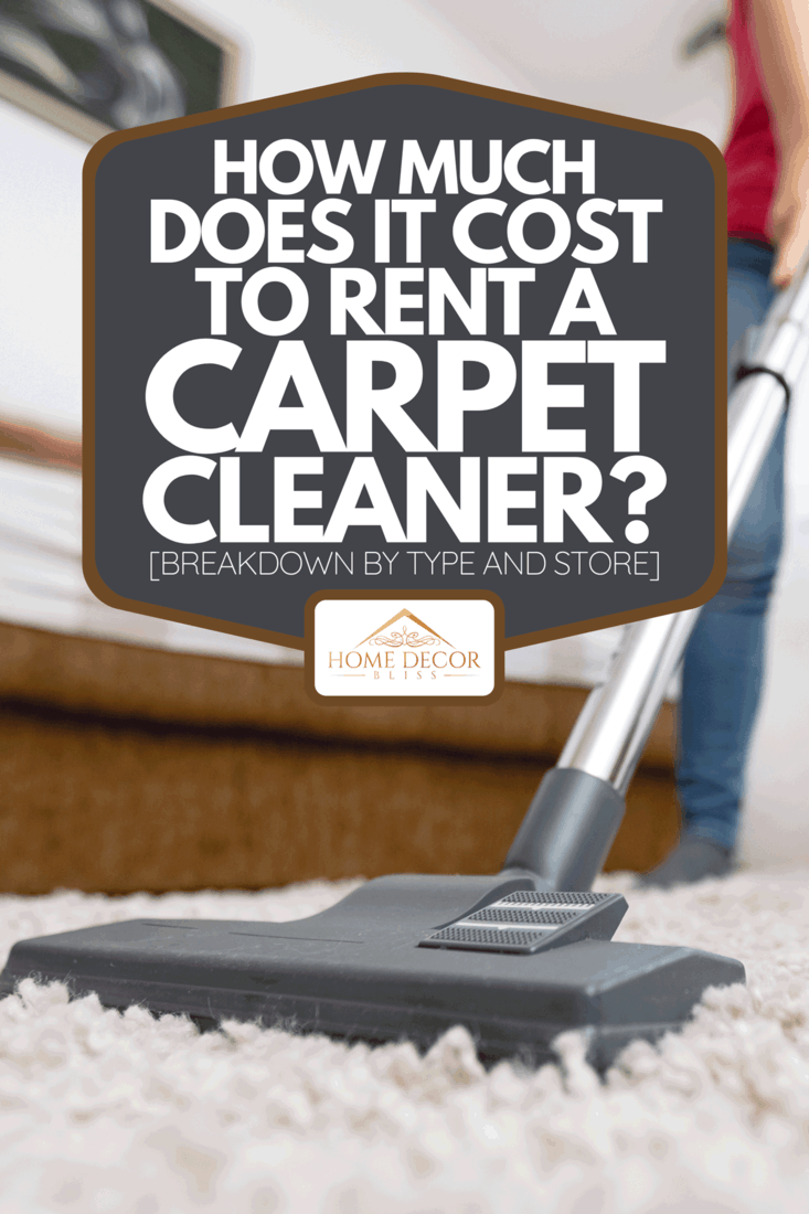 A young woman using vacuum cleaner to clean the house, How Much Does It Cost To Rent A Carpet Cleaner? [Breakdown By Type And Store]