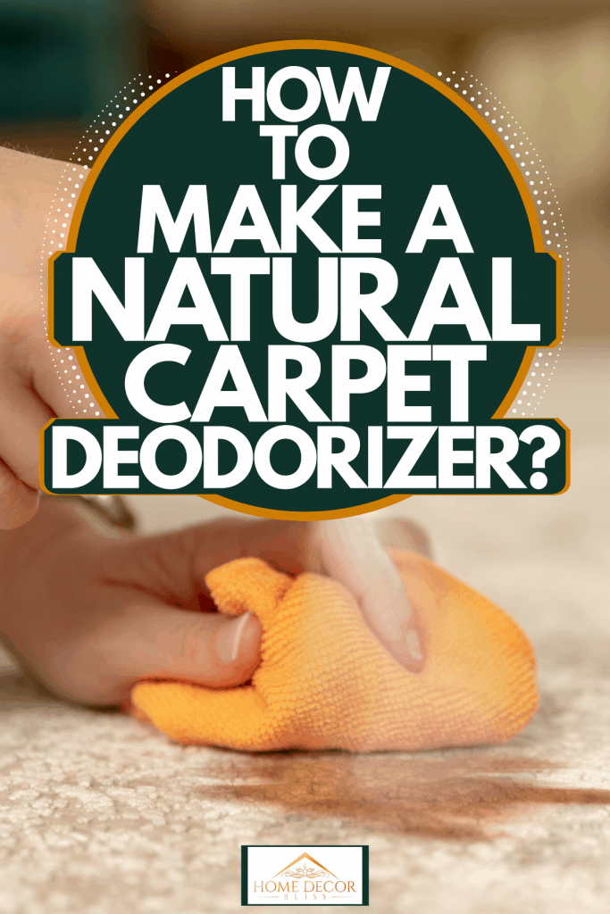 A woman using a spray to clean the carpet, How To Make A Natural Carpet Deodorizer?