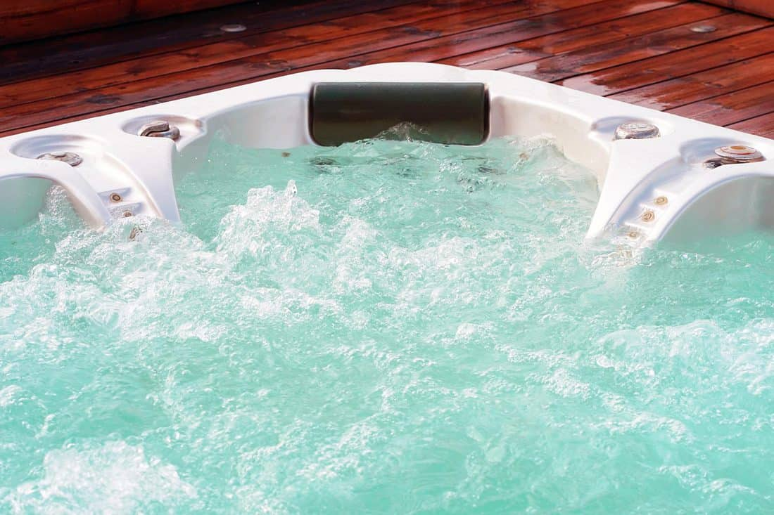 Jacuzzi tub on wooden patio