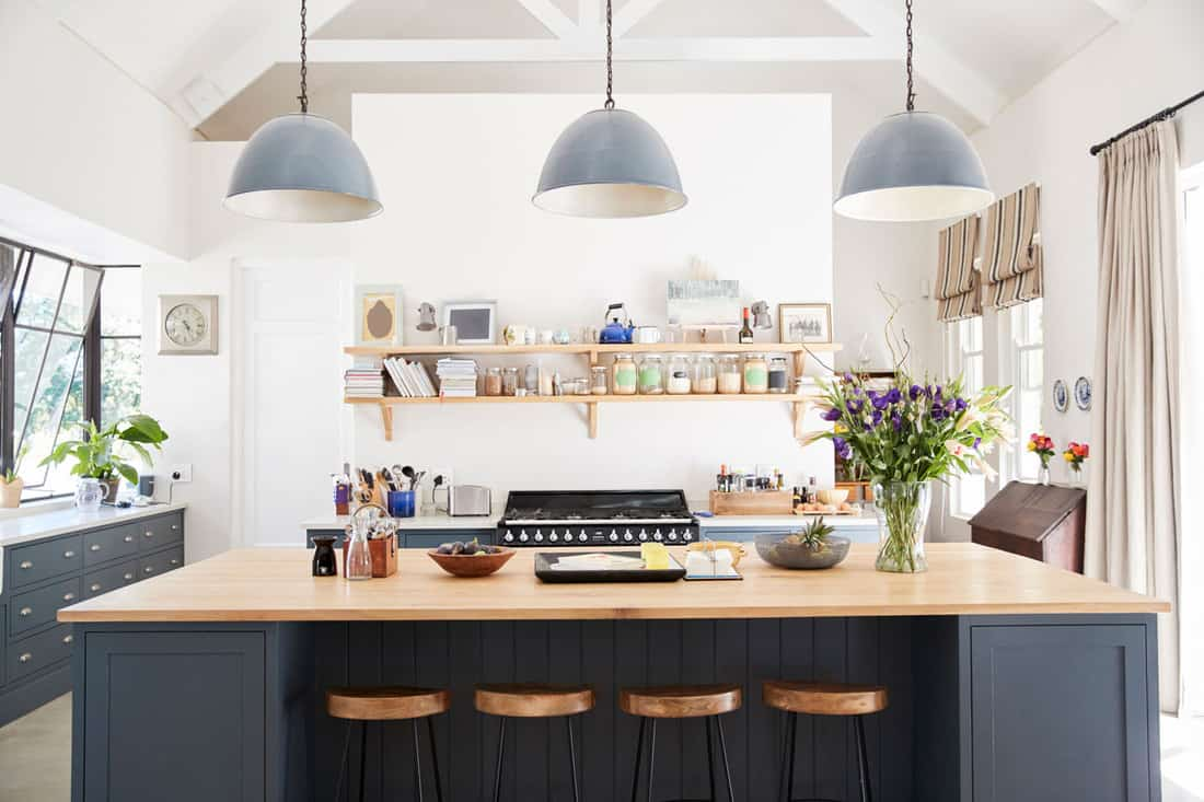 Large family kitchen in period conversion house, straight on