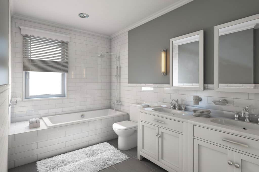 modern interior contemporary bathroom with gray painted walls and light gray vanity