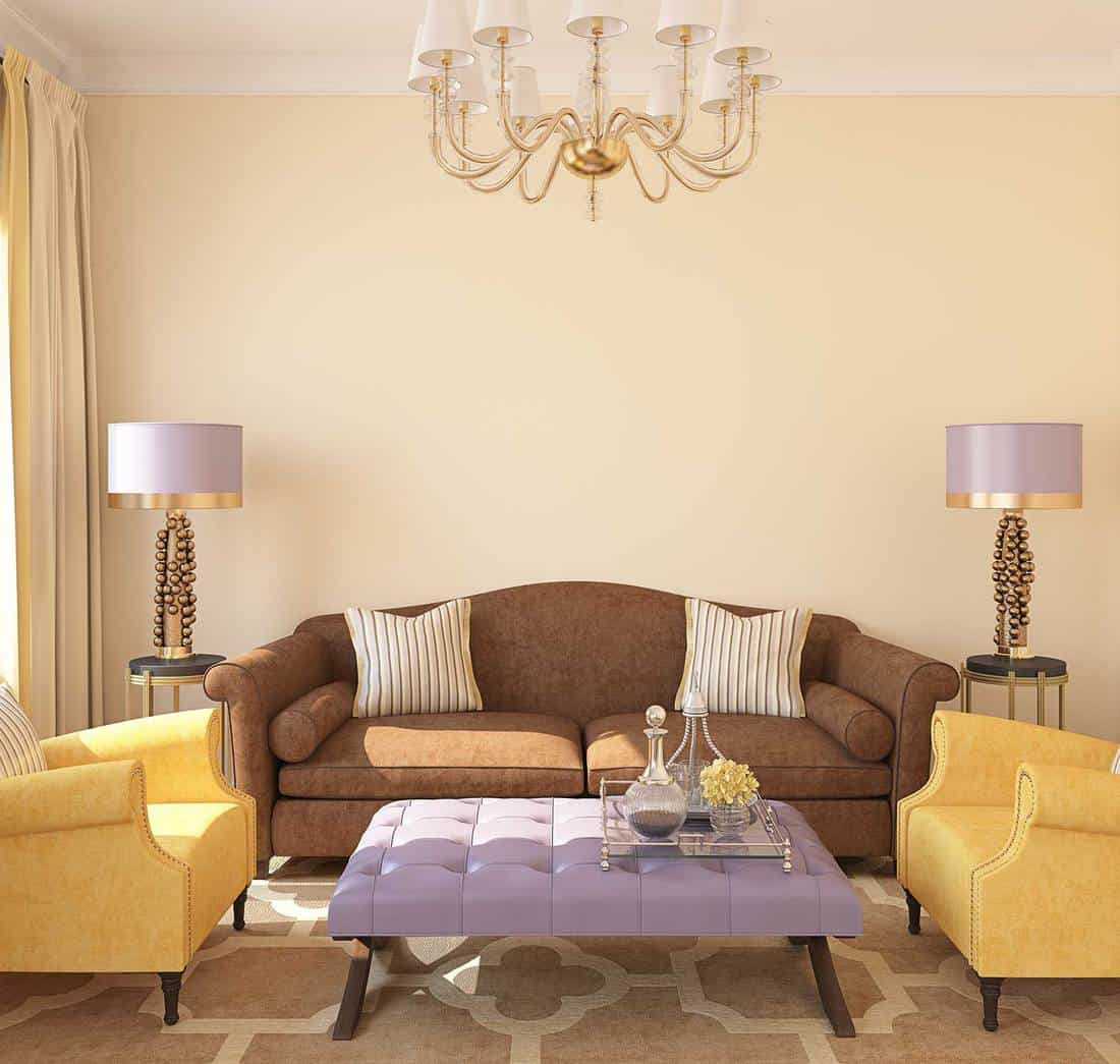 Modern living room interior with brown sofa