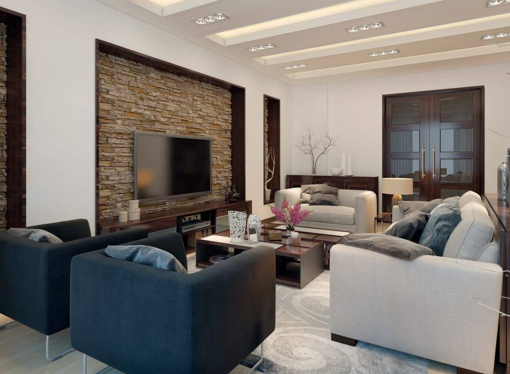 Modern style living room with recessed lighting