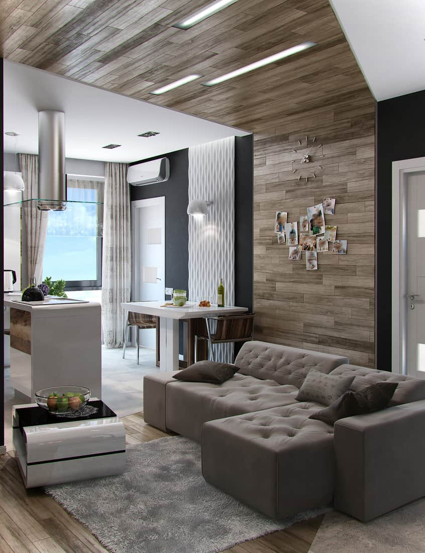 Open concept living room with recessed lighting