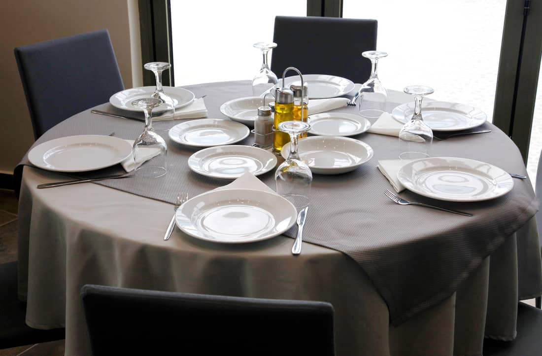 Restaurant Dinner Table Place Setting, with Napkin and Wineglass