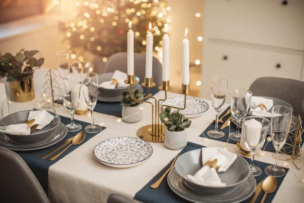 Table arranged for Christmas lunch