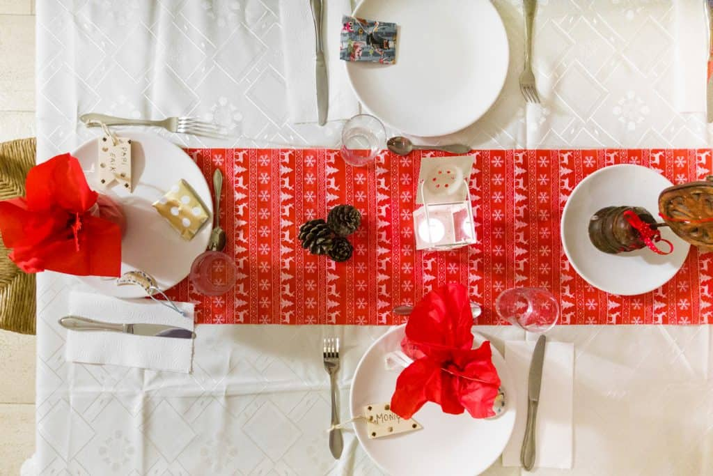 Top view of neatly arranged dining table with table runner