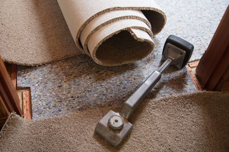 Unrolled carpet and a knee kicker on the side, How To Prepare For Carpet Installation - What To Do Before And After