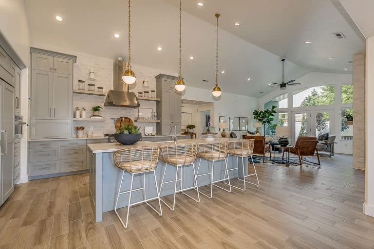 Vaulted ceiling allow pendant lights give huge open feel to custom kitchen and home, How To Use A Sloped Ceiling Adapter