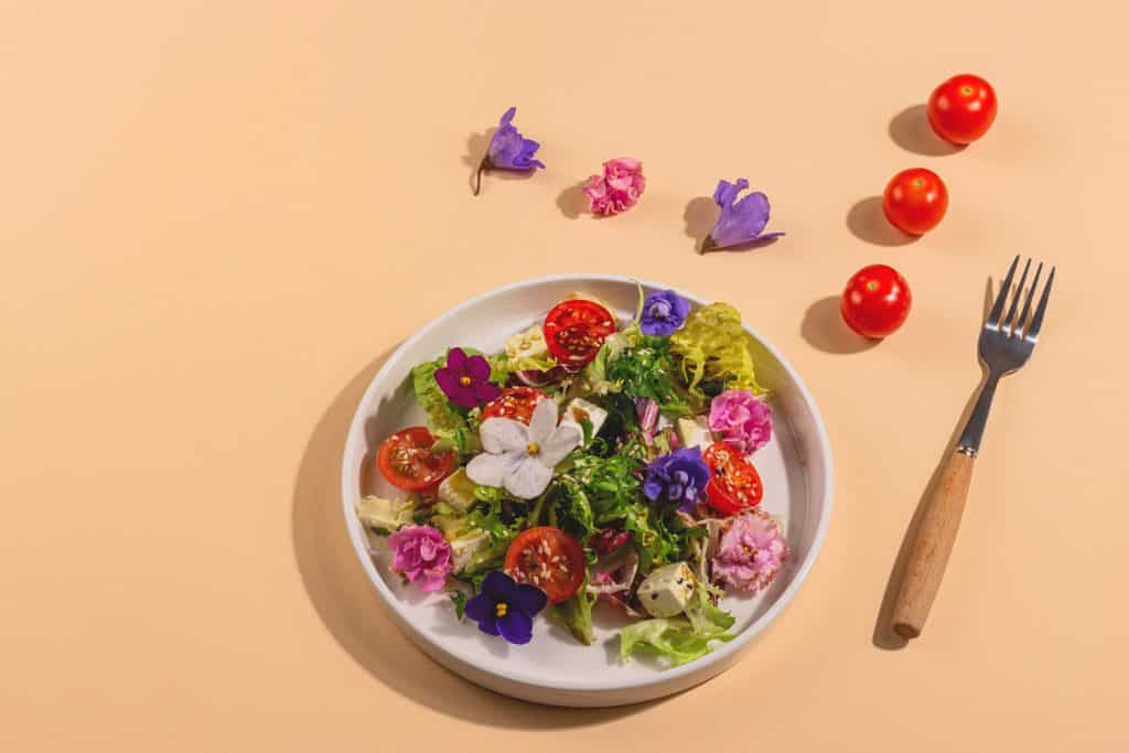 Vegetarian salad with tomato, lettuce, and cheese garnished with edible flowers with ingredients in hard light next to a plate. Spring food concept.