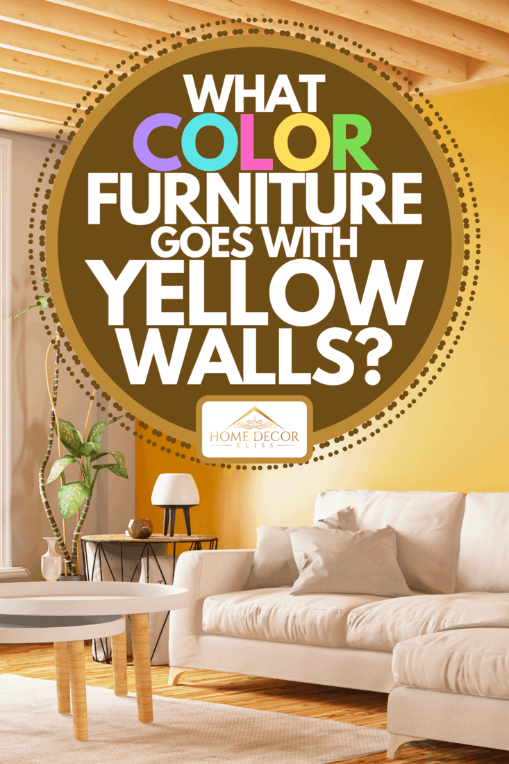 A modern interior design sectional sofa with yellow wall, What Color Furniture Goes With Yellow Walls?