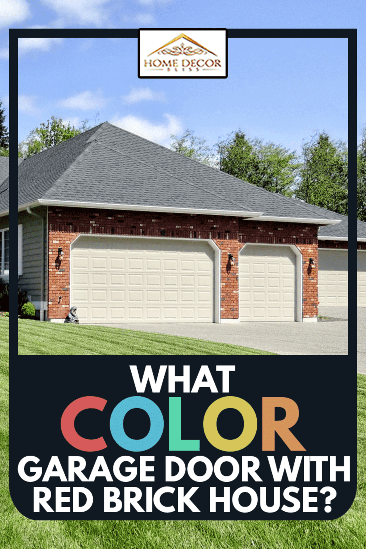 Ranch Style home with a perfect lawn with white garage in red brick wall, What Color Garage Door With Red Brick House?