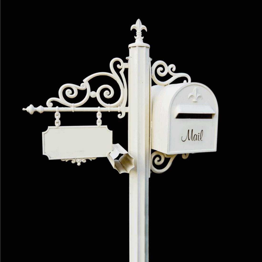 White ornamental Letter box