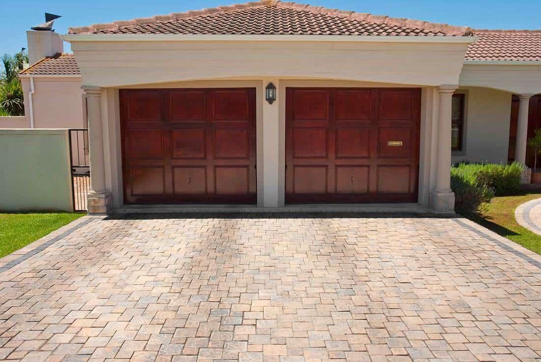 Wooden brown double garage doors