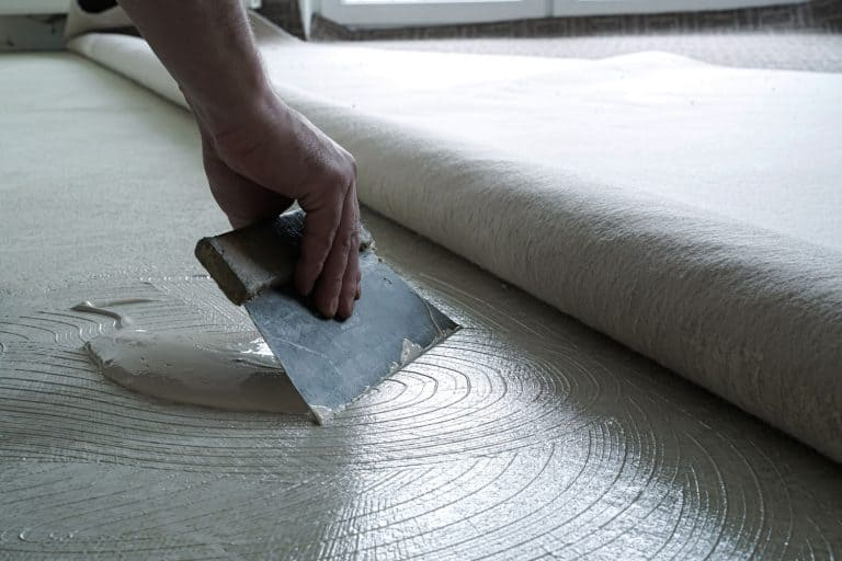 A man putting carpet glue on the concrete floor before installing carpet, Does Carpet Glue Dry Clear?