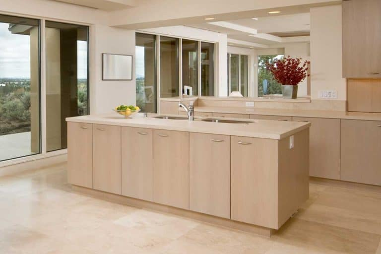 A modern beige tile kitchen with island, What Color Paint Goes With Beige Tile In The Kitchen?