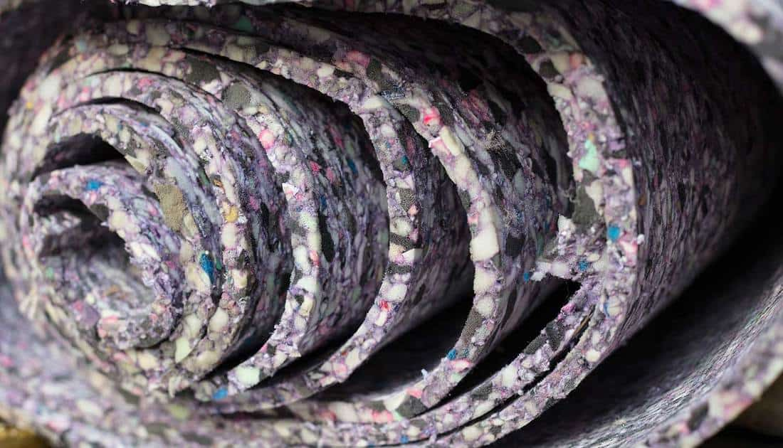 A roll of carpet padding up close