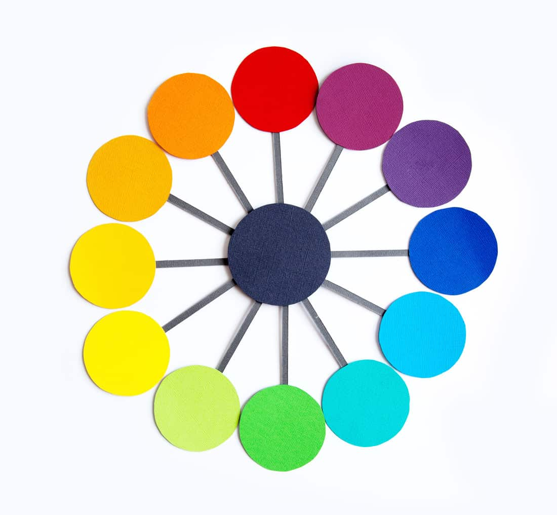 Colours of the color wheel are cut out and arranged to form a wheel following the cycle of colour mixing.