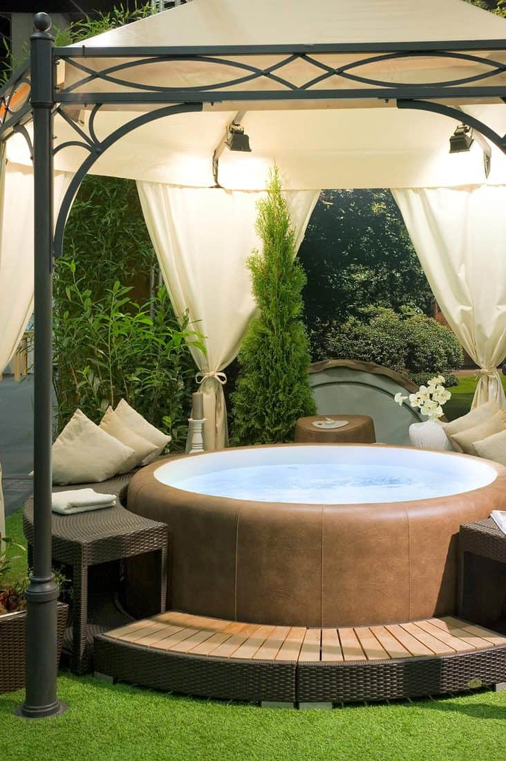 Covered hot tub in a garden