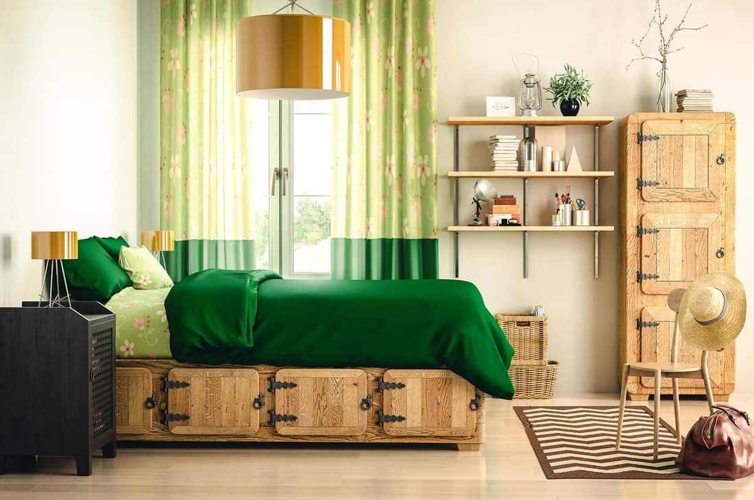 Digitally generated warm and cozy country home interior design with wooden bed