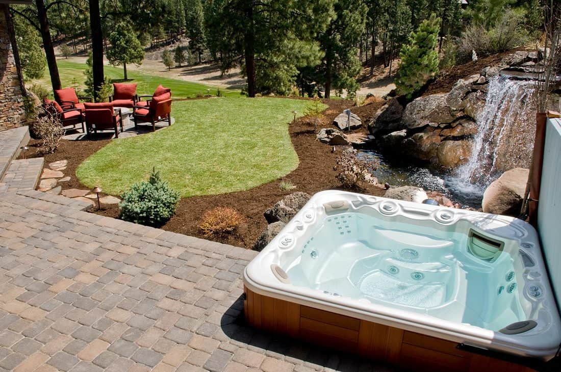 Hot tub in backyard