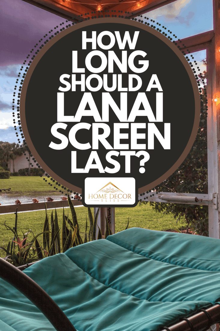 A swinging lounge chair on a lanai at sunset, How Long Should A Lanai Screen Last?