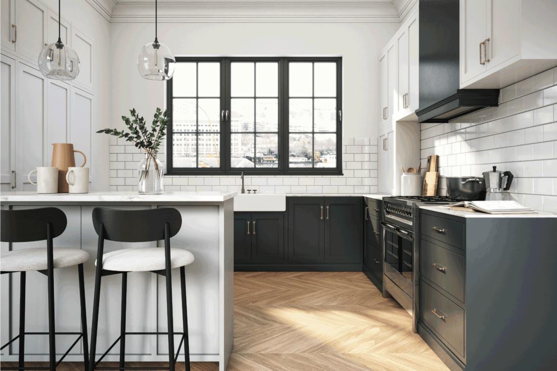 Interior design of elegant kitchen with black and white elements