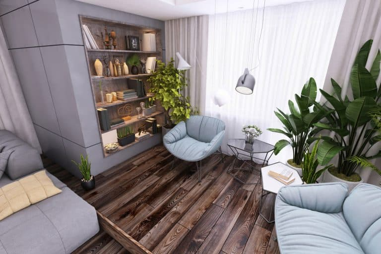 Interior of a modern living room designed with hardwood flooring, indoor plants, and gray sofas, 11 Great Coffee Table Ideas For Small Spaces