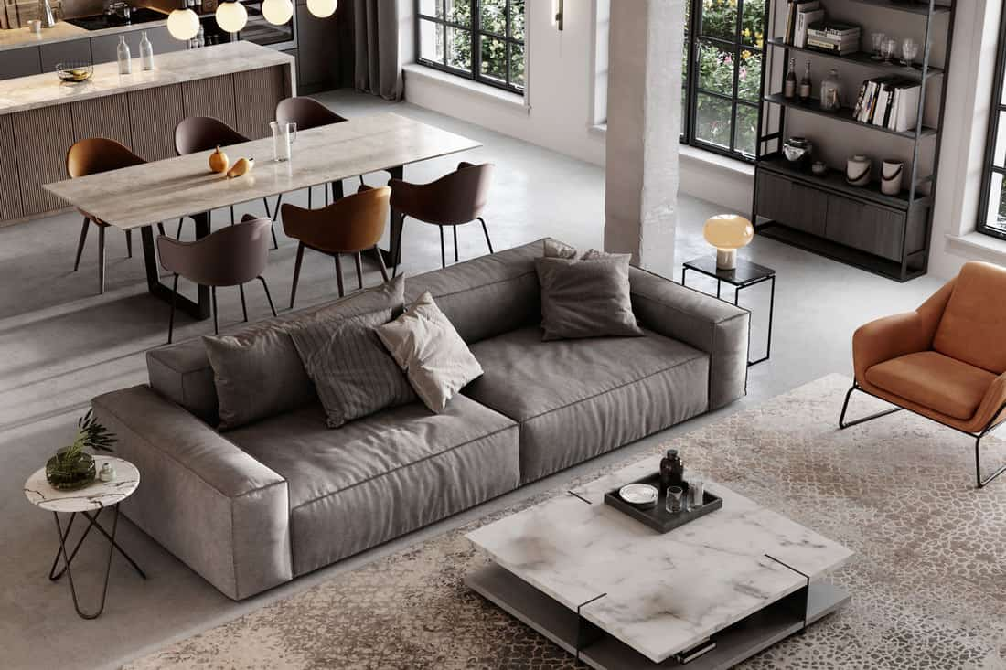 Large and luxurious interiors of a modern living room with lounge area and dining space