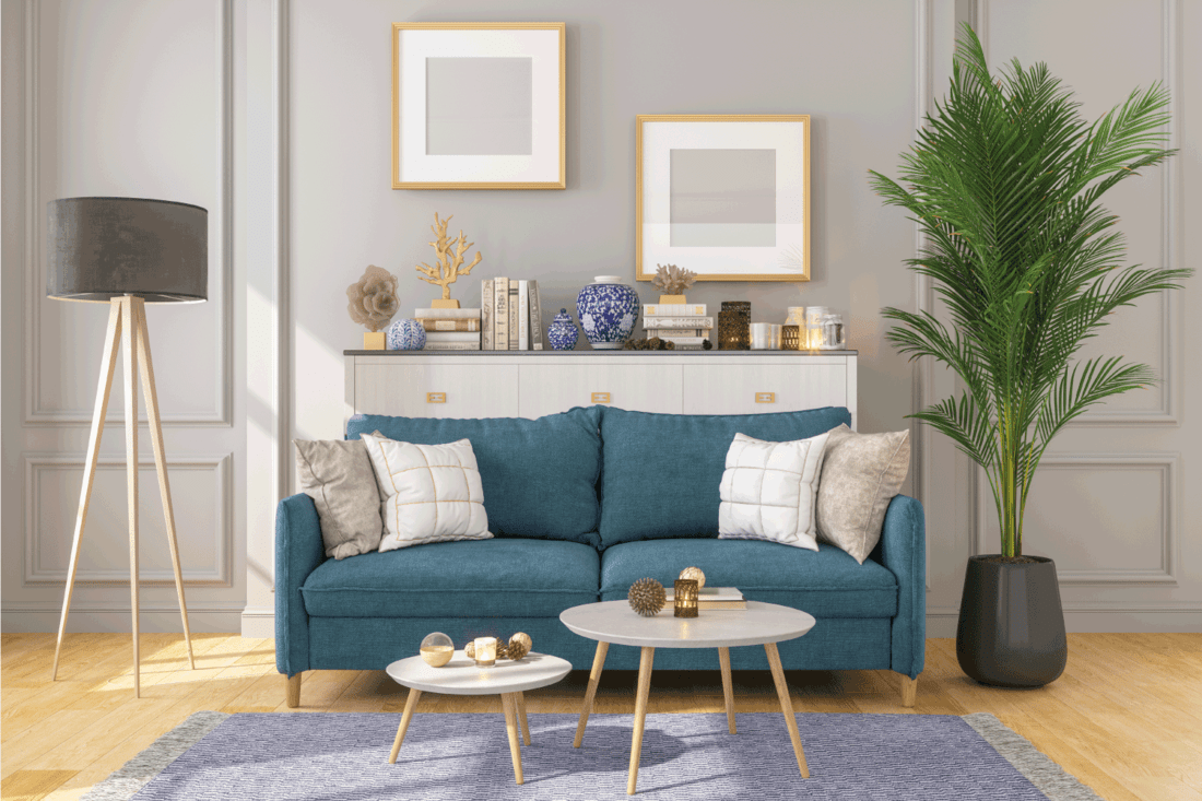 Living Room Interior With Picture Frame On Gray Walls, blue couch