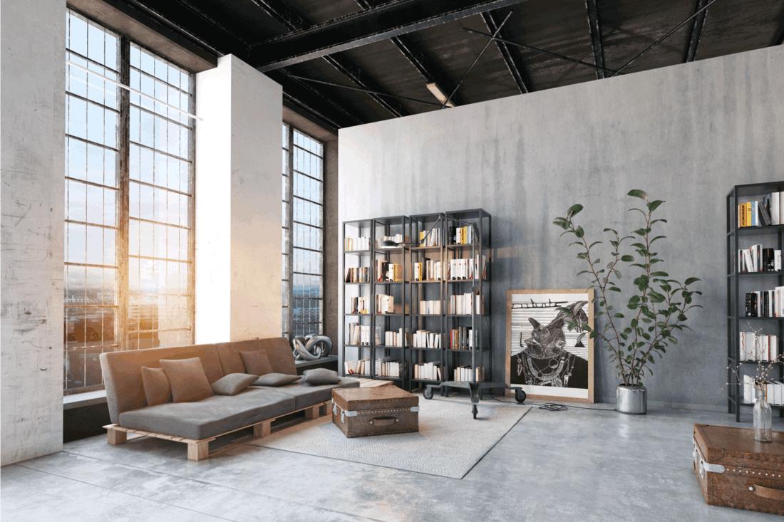 Modern attic living room with shelves
