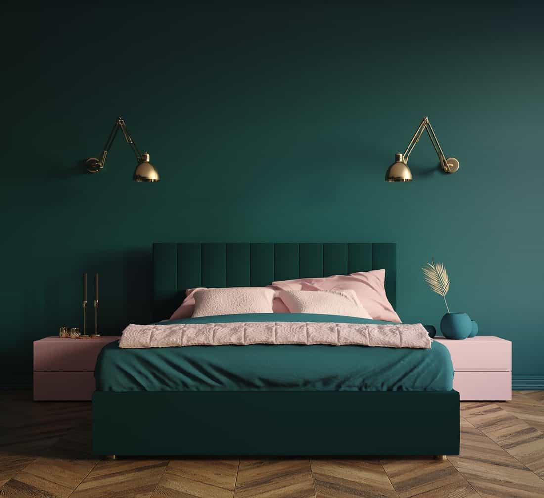 Modern dark green bedroom interior