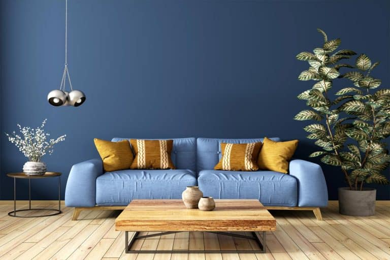 A modern interior design of living room with blue couch and a wooden coffee table, What Color Coffee Table With A Blue Couch?