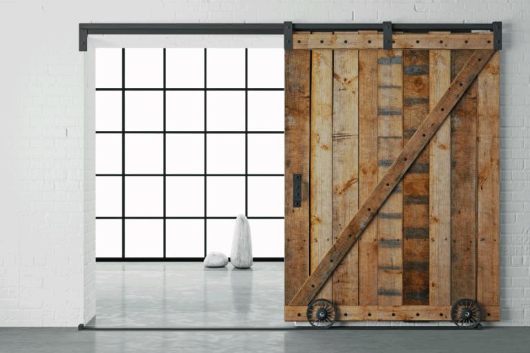 Modern-interior-in-loft-style-barn-sliding-wooden-door-in-loft-room.-Do-Bedroom-Barn-Doors-Lock