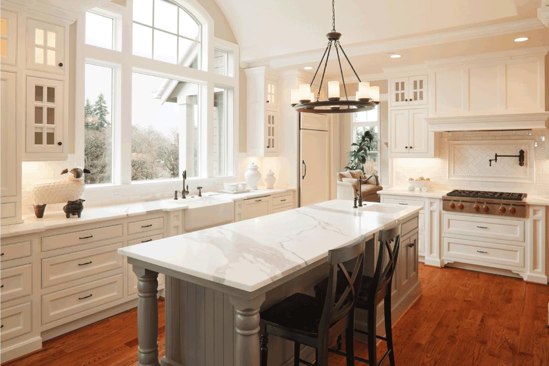 New Luxury Kitchen in elegant beige color concept on walls