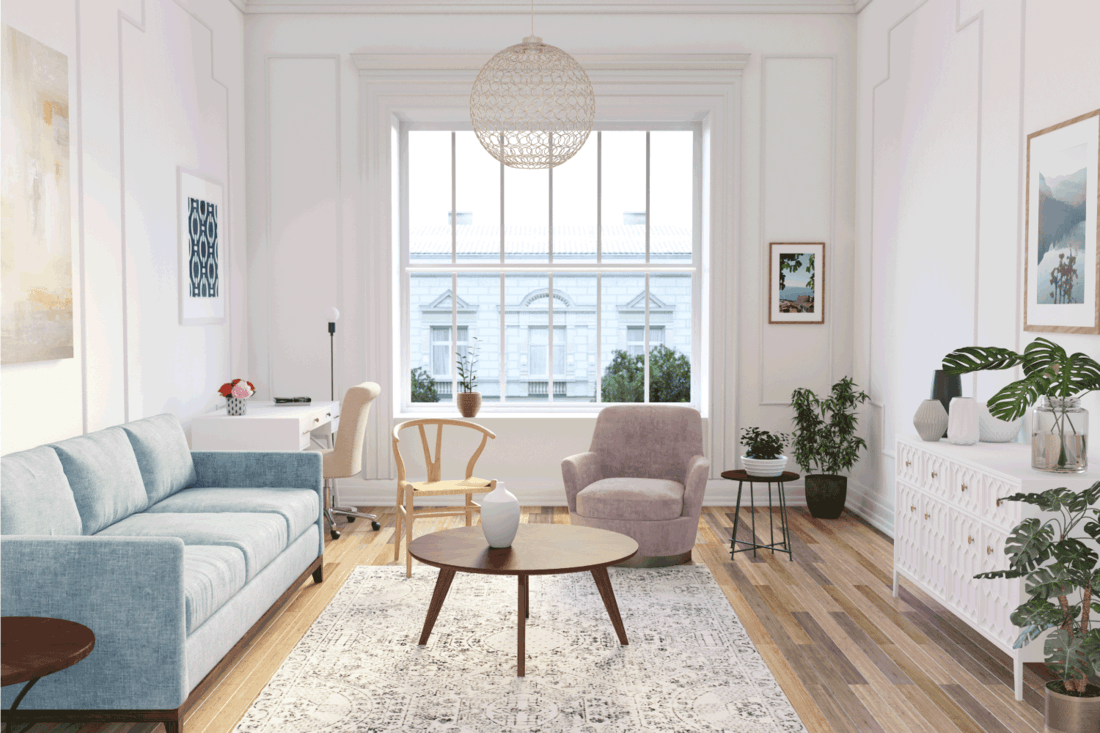 Scandinavian interior design living room with mix of pastel colors