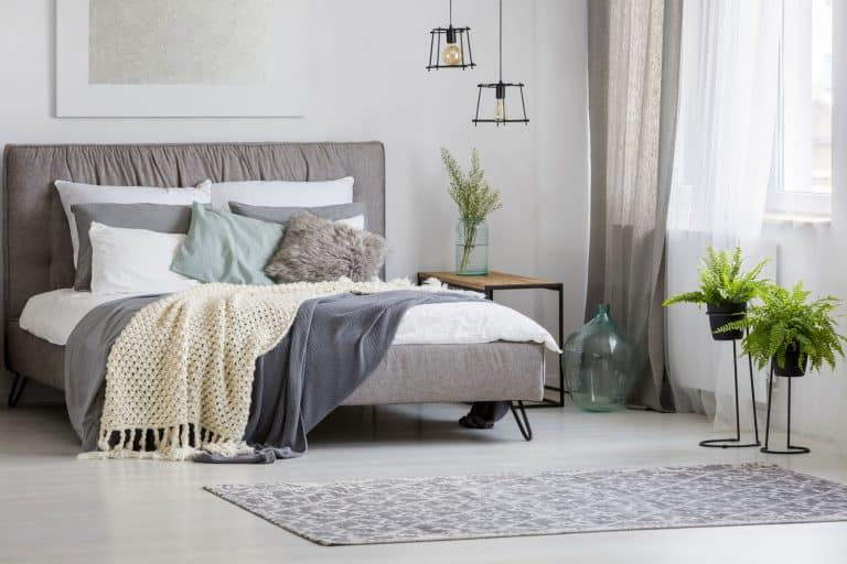 Small contemporary bedroom with drapes and blankets on the bed and a small rug infront and plants near the windowsill, How Big Should A Bedroom Rug Be?